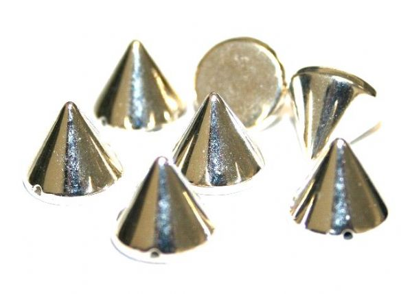85pcs x 12mm*11mm stud - spike bead with one hole --  Finish: rhodium